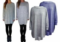 UK Ladies Womens Knitted Baggy Jumper Dress Knit Long Top Size 8 10 12 14 16 18