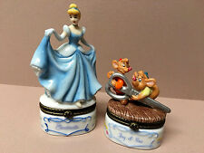 PHB Disney Midwest TRINKET BOXES-Cinderella W/Slipper & Jaq & Gus W/Key-Mint!