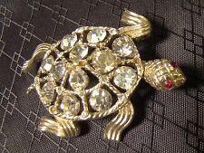Signed Lisner Cute Rhinestone Turtle Silver Pin Brooch Sparkly Pretty
