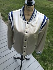 SCOTCH & SODA Silver Satin Varsity Jacket w/ Blue and White Trim (L)