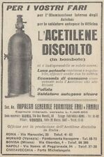 Z3431 Acetilene disciolto in bombole - Pubblicità d'epoca - 1922 old advertising