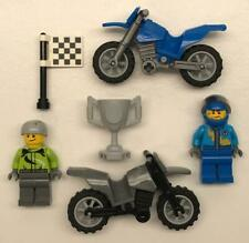 2 Lego Dirt Bike Racer Guys Minifigs Lot: figures motorcycles riders atv city