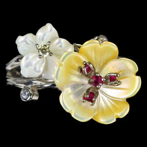 Round Red Ruby Mop Cz 14K White Gold Plate 925 Sterling Silver Flower Ring 7