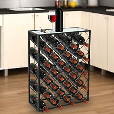 Elegant 32 Bottle Wine Rack W/ Glass Table Top Black Storage Liquor Cabinet
