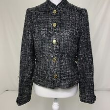 Women's Size 8 Adrienne Vittadini Black/Grey Wool Blend Tweed Blazer Jacket