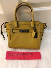 NWT COACH 37444 Swagger 21 Carryall Leather Satchel Bag yellow retail price $350