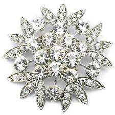 NEW SILVER SMALL BROOCH PINS LARGE CRYSTAL BOUQUET LADIES COSTUME JEWELLERY JOB