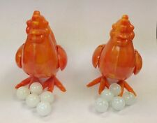 2 Vintage Plastic Hen Chicken Lay marble Eggs
