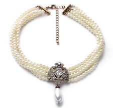 Bride Wedding White Pearls Beads Choker necklace vintage style victorian UK