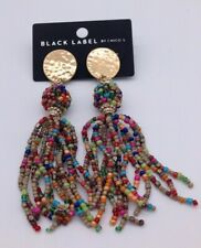 Chico's beaded multi color long earrings NWTS