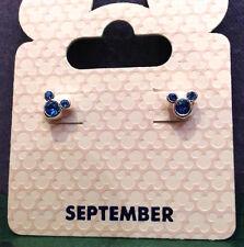 Disney Parks Mickey Mouse Faux Gem September Birthstone Stud  Earrings NEW