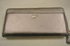 New/DEFECT.Ladies' Diane von furstenberg pewter color zip-around wallet
