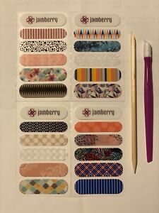 Jamberry Nail Wraps Starter Kit - 20 Accent Strips with cuticle pusher and stick