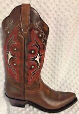 Womens Western Cowboy Boots Gypsy Rose Olivia Brown 225-10LG Size 8 NIB