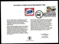 SC78 Souvenir Card 1982 National Stamp Collecting Mongh