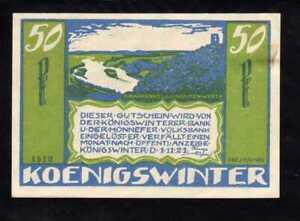 W497 GERMANY NOTGELD - KOENIGSWINTER  -  50 PFENNIG