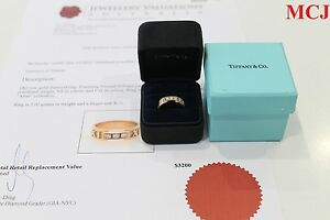 Tiffany & Co. Atlas Ring 18K Rose Gold With Diamonds VS/F-G 0.15CT Size K1/2