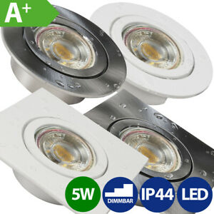 LED Bad Einbaustrahler Einbau-Leuchten Lampen Spots Set iP44 230V 5W extra flach