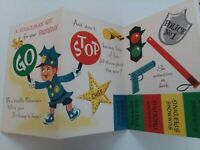 UNUSED Vtg 1950s POLICEMAN KIT for BIRTHDAY Uncut GUN Badge Ticket GREETING CARD