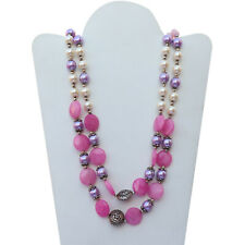 Handmade Sterling Silver Onyx and Pearl Gemstone Necklace VJ-990