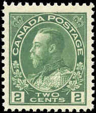 Mint NH 1923 Canada F-VF Scott #107e 2c King George V Admiral Stamp