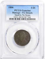 1806 Draped Bust Half Cent Small 6, No Stems PCGS Genuine VG Details