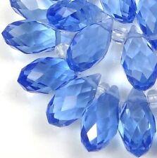 20 glass Quartz Faceted Teardrop Beads 13x6mm -  Lt. Sapphire