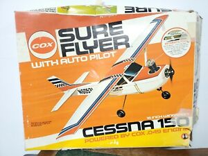 Vintage Cox Sure Flyer with Auto Pilot Cessna 150 Powered Aircraft Model