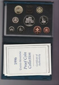 BOXED ROYAL MINT 1996 STANDARD BLUE BOXED PROOF SET OF 9 COINS WITH CERTIFICATE