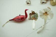 ANTIQUE CHRISTMAS ORNAMENTS LOT 3 GLASS FIGURAL BIRD SPUN GLASS GERMAN SCRAP