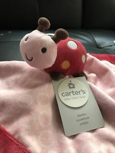 CARTER'S SECURITY BLANKET LADYBUG VELOUR RASPBERRY RED PINK WHITE GIRL SOFT NEW