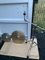 "Free P&P. Cracked 19"" Paiste Dark Energy Cymbal.  14"" Crash. Stand. Junkyard FX"