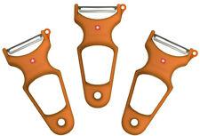Toolswiss Clasinox Hoja de Acero Inoxidable Pelador Verduras (3 Packs , Naranja)
