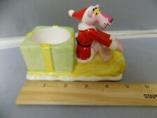 Pink Panther In Santa Suit on Sled with Present Candle Holder 1981 Collection