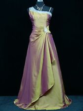 Cherlone Satin Gold Long Formal Ballgown Prom Wedding Bridesmaid Evening Dress