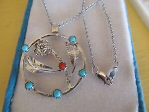 VTG 925 Sterling Silver Turquoise Coral Flower Pendant Necklace Native American