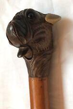 Canne animée tête de bulldog mâchoire articulée antique french cane XXème siècle