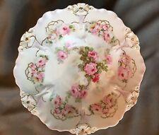 "Gorgeous German Roses Bowl, Hand Painted, Sculptured Rim/Gold Trim 10 &1/2"" x 3"""