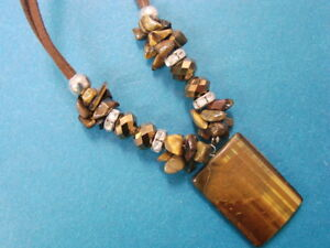 Tiger's Eye Pendant Necklace Rhinestone accents on Leather