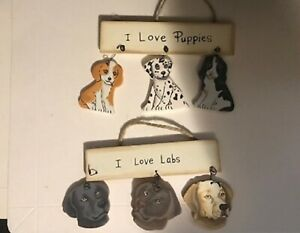 I love puppies, I love labs country dog dogs theme decor ornament wood sign 5x5