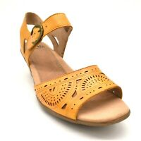 Earth Women Carson Westport Leather Wedge Slingback Sandals Yellow Size 9.5M New