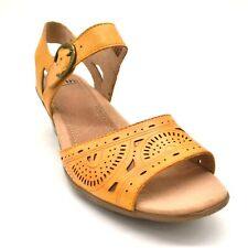 Earth Women Carson Westport Leather Wedge Slingback Sandals Yellow Size 9.5W New