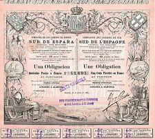 SPAIN SOUTH SPAIN RAILROAD stock certificate 1889 MADRID