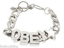 OBEY Skater Hip Hop Urban Silver Chunky Chain Bracelet Bling