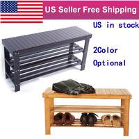 3-Tier Bamboo Stool Seat Entryway Shoe Bench Rack Storage Organizer Shelf