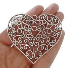 2 x Tibetan Silver Large Filigree Heart Charms Pendants for Jewellery Making