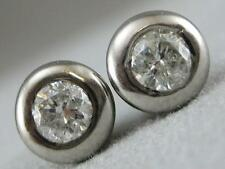 ESTATE DIAMOND STUD 14K WHITE GOLD ROUND ETOILE PUFF EARRINGS 4MM WIDE #L1331.33