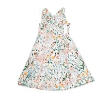 Calvin Klein Floral Eyelet Midi Dress NEW Size 8 V Neck Lace Sleeveless White