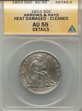 1853 50C Arrows and Rays Liberty Seated Half - ANACS AU55 - Cleaned/Heat Damaged