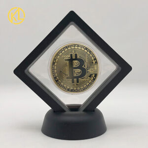 Bitcoin Physical Collectible Coin With Showing Stand Case gold Coin For nice gif